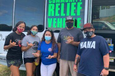 Hāna Community Relief van delivers orders to farmers market