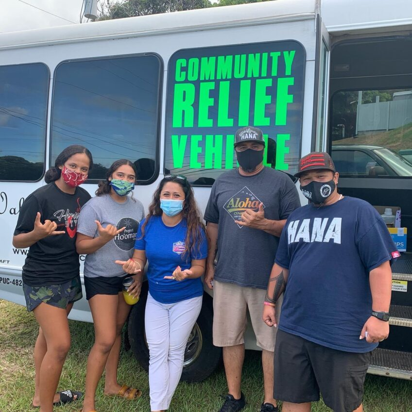 Hāna Community Relief van delivers orders to farmers market